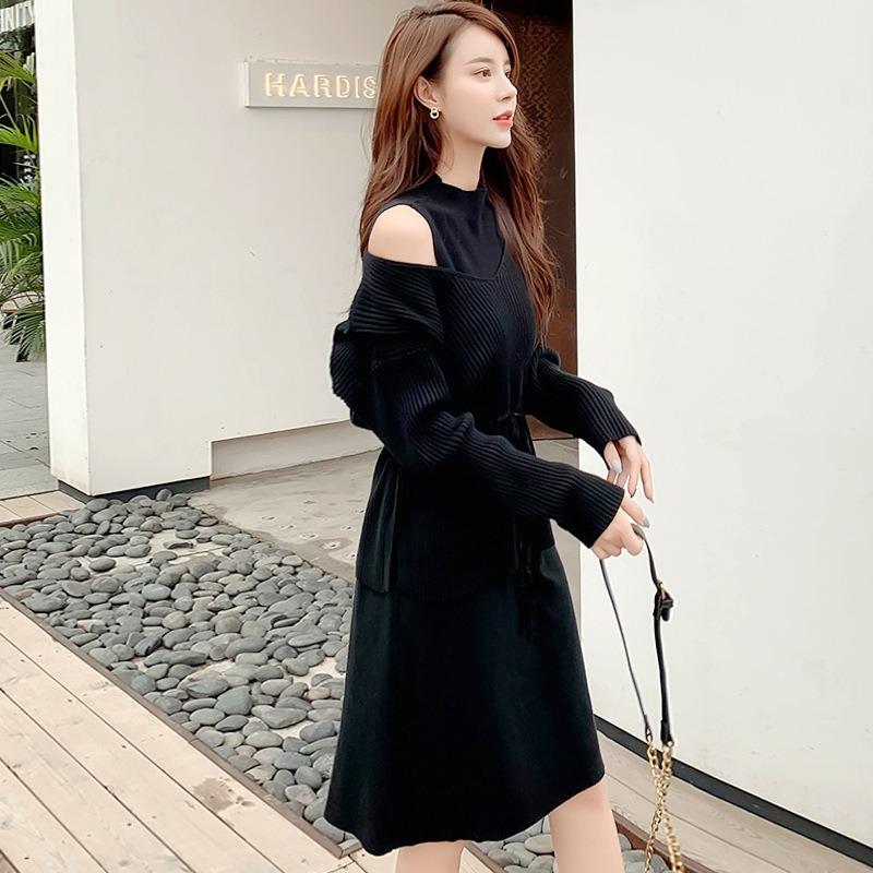 新款时尚两件套宽松抽绳系带显瘦长袖毛衣背心针织裙套装