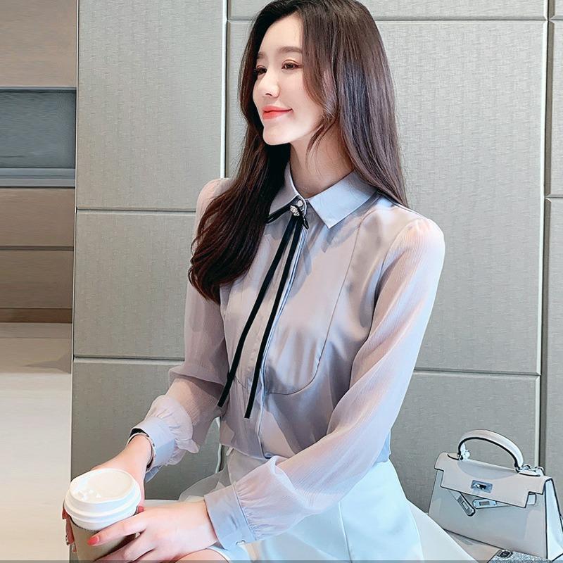 春季新款韩版翻领衬衣女 气质百搭纯色修身长袖系带装饰上衣
