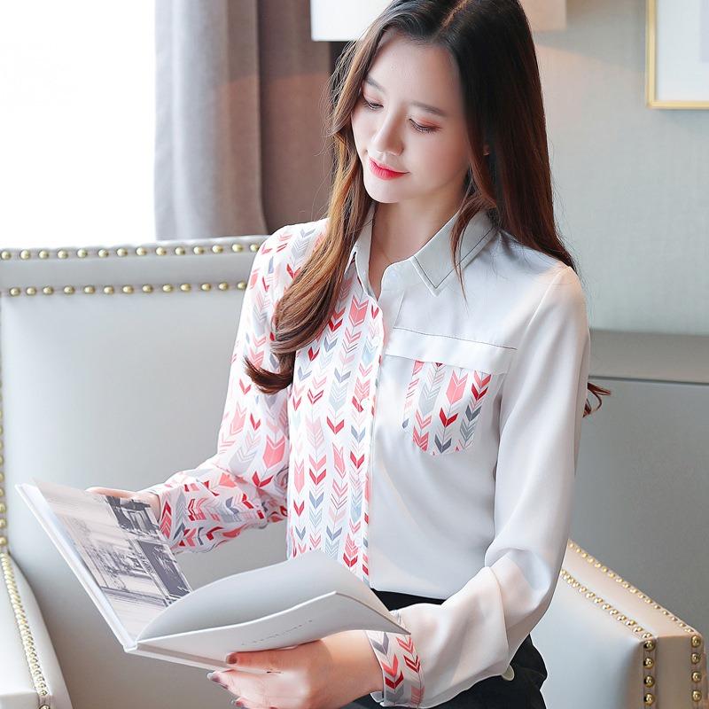 春秋新款小众设计上衣 洋气印花韩版长袖雪纺衫女 百搭气质衬衣