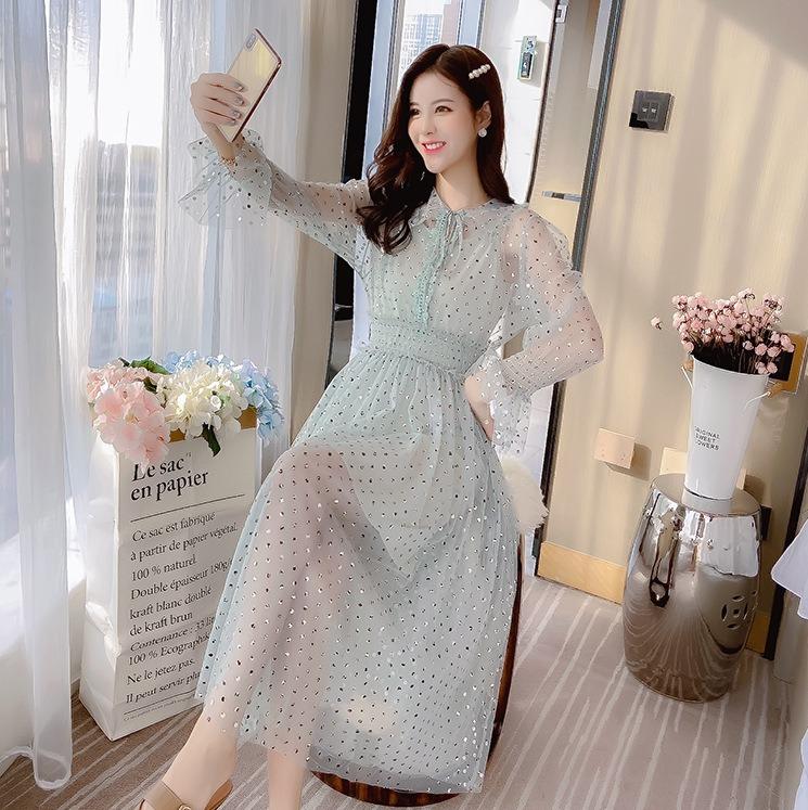 春夏新品 甜美气质亮片网纱连衣裙 中长款喇叭长袖收腰仙女裙