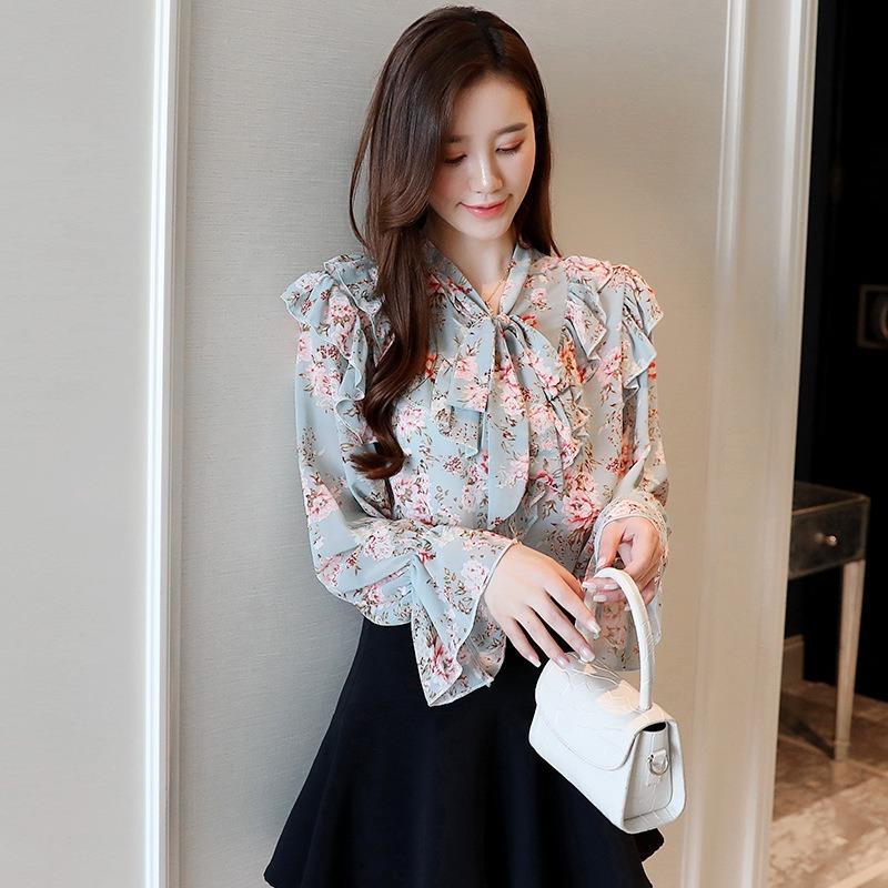 春夏女装新款 系带蝴蝶结碎花雪纺衫 宽松甜美韩版喇叭长袖衬衫