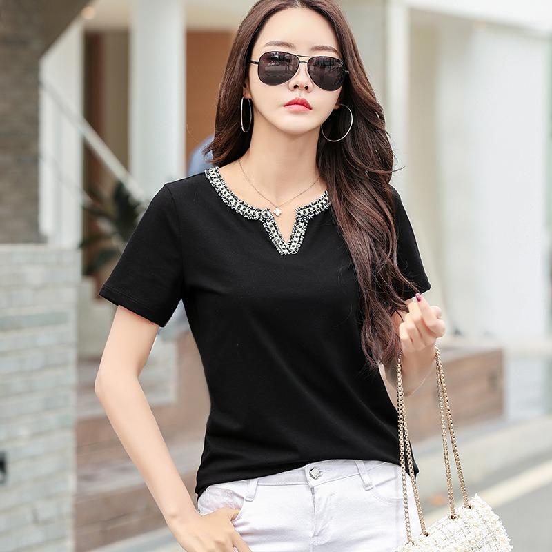 春夏新款时尚T恤 创意V领短袖棉T恤女 简约T恤时尚气质上衣