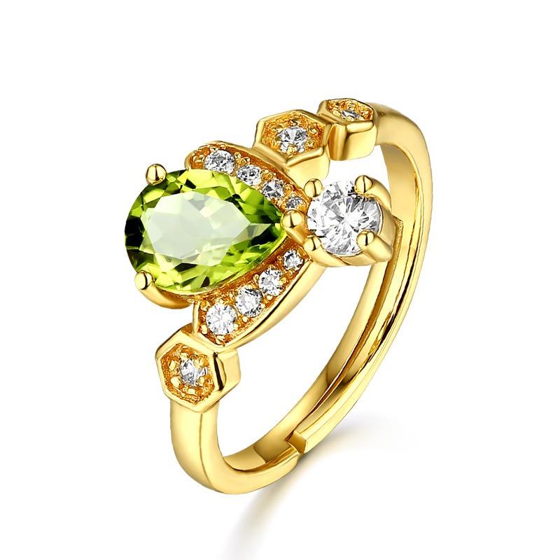 彩宝首饰 橄榄石镶钻活口蜜蜂手饰 原创925银戒指