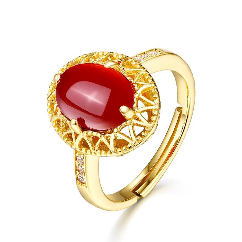 彩宝银饰 典雅时尚潮流配饰 红玛瑙复古蛋形开口戒指