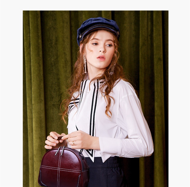 新款真皮女包 时尚手提包潮 韩版百搭宽带斜挎包 单肩复古女包