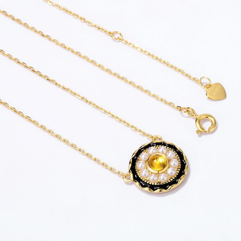 民族风k金包金项链 天然复古珍珠锁骨项链女 气质百搭精致项饰