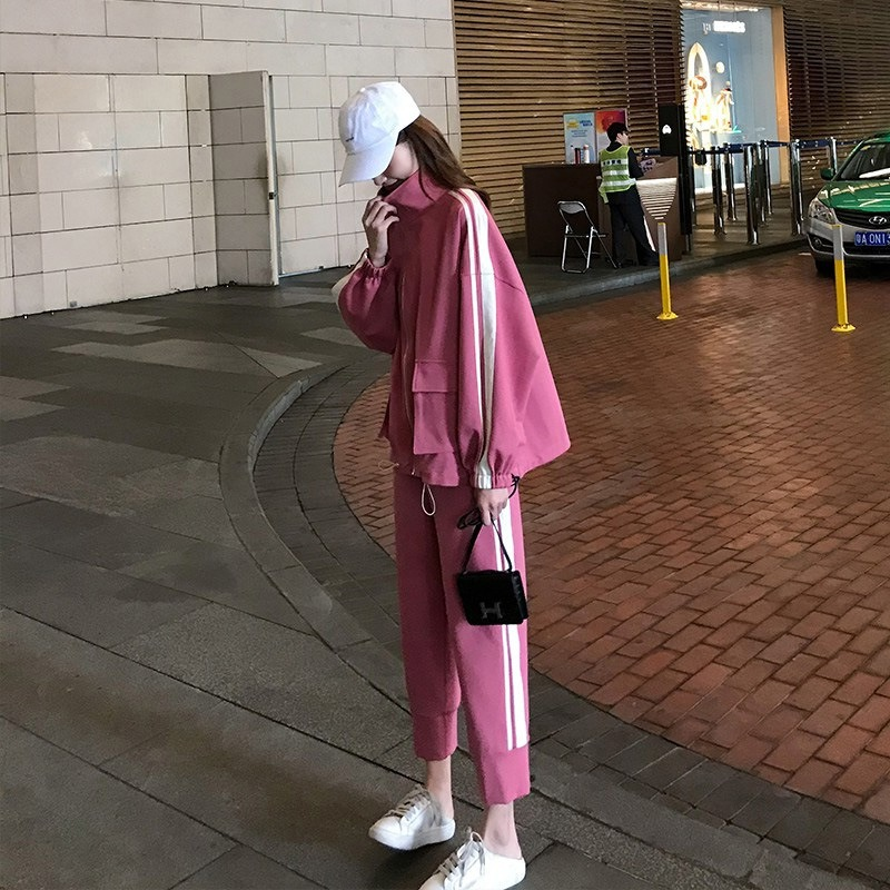 潮流运动服休闲套装女 春秋套装 新款时尚宽松韩版洋气两件套装