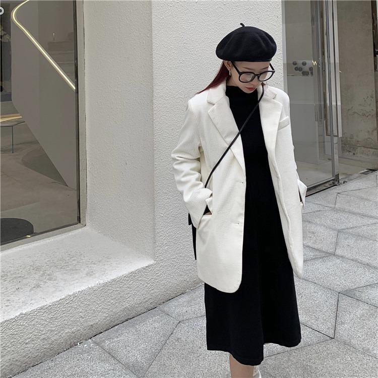 新款春季东大门日系简约休闲宽松西装女 灯芯绒小西服外套