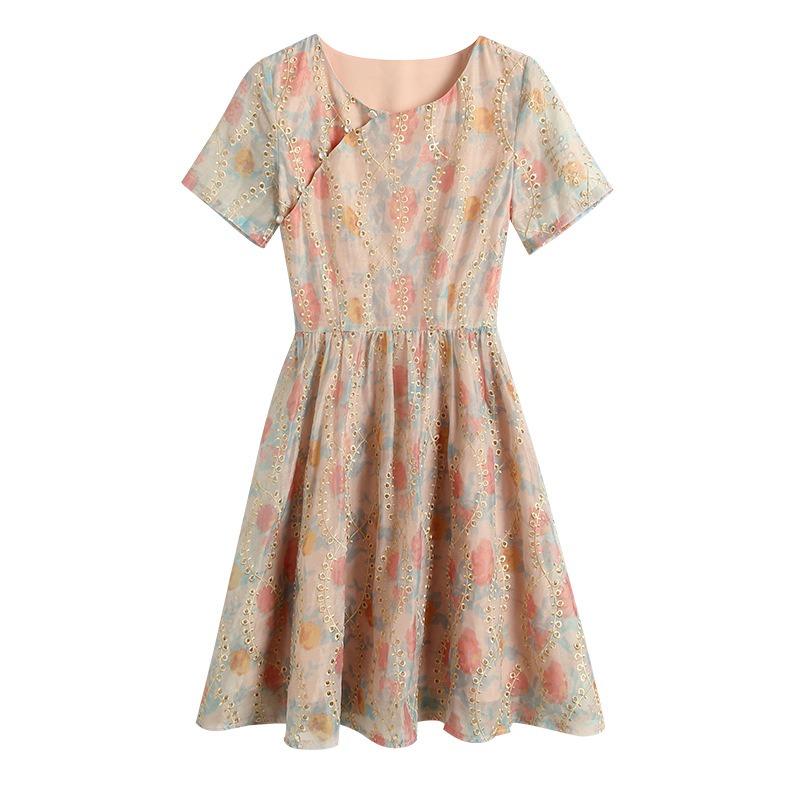 国潮风改良版旗袍裙子 2020夏装新款 百搭圆领高腰显瘦印花连衣裙