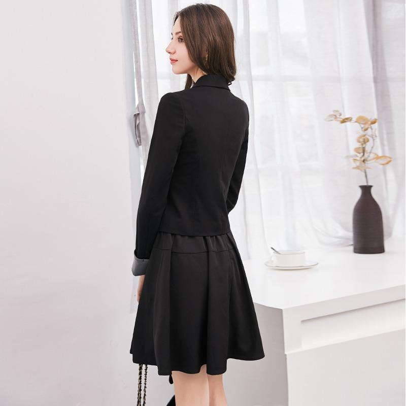 休闲西装裙两件套女 春夏新款时尚显瘦吊带连衣裙+小西服套装