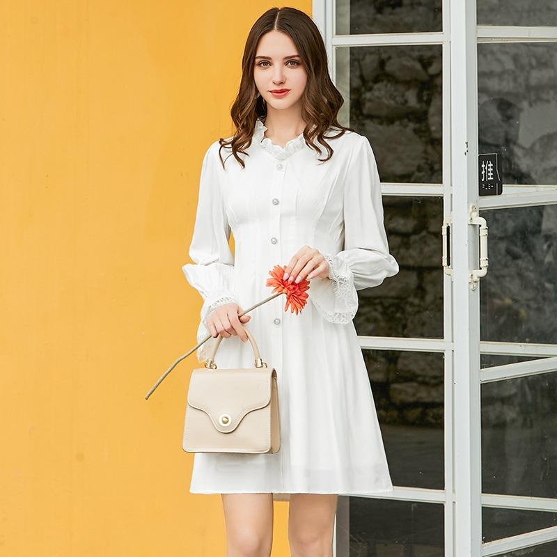 春夏新款仙气满满 法国桔梗裙女 新款波纹边修身显瘦雪纺连衣裙