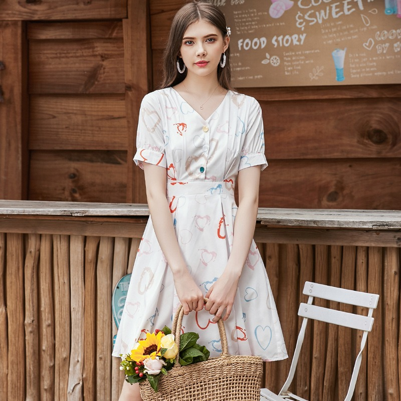 夏装新款 温柔风可爱少女印花裙 超火性感V领百搭连衣裙