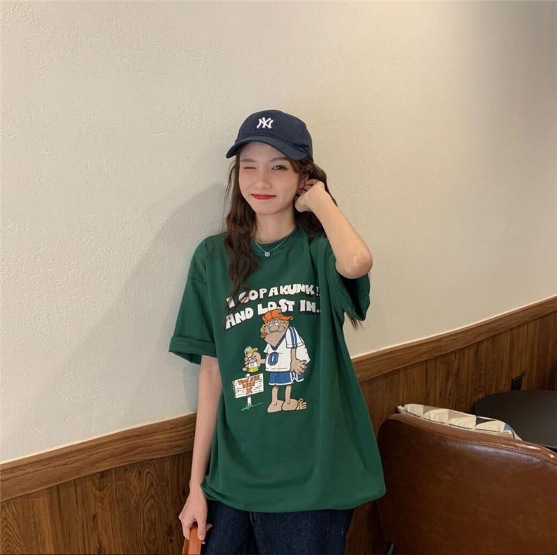 春夏新款 韩版简约T恤女 日系趣味卡通印花休闲圆领短袖T恤 大码T恤潮