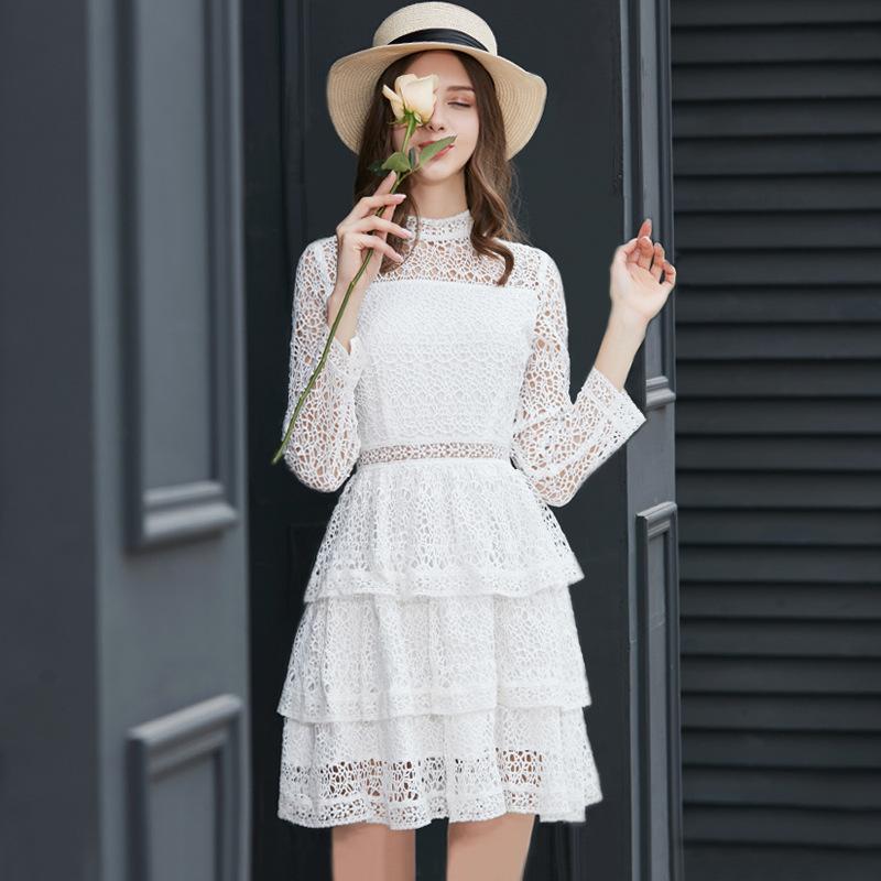 初春新款 网红风时尚蛋糕裙女 春夏新款气质仙气连连流行连衣裙