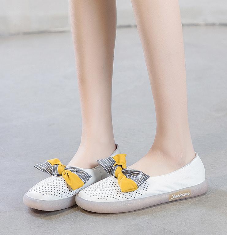 春夏新款头层牛皮蝴蝶结浅口单鞋 一脚蹬透气防滑孕妇鞋