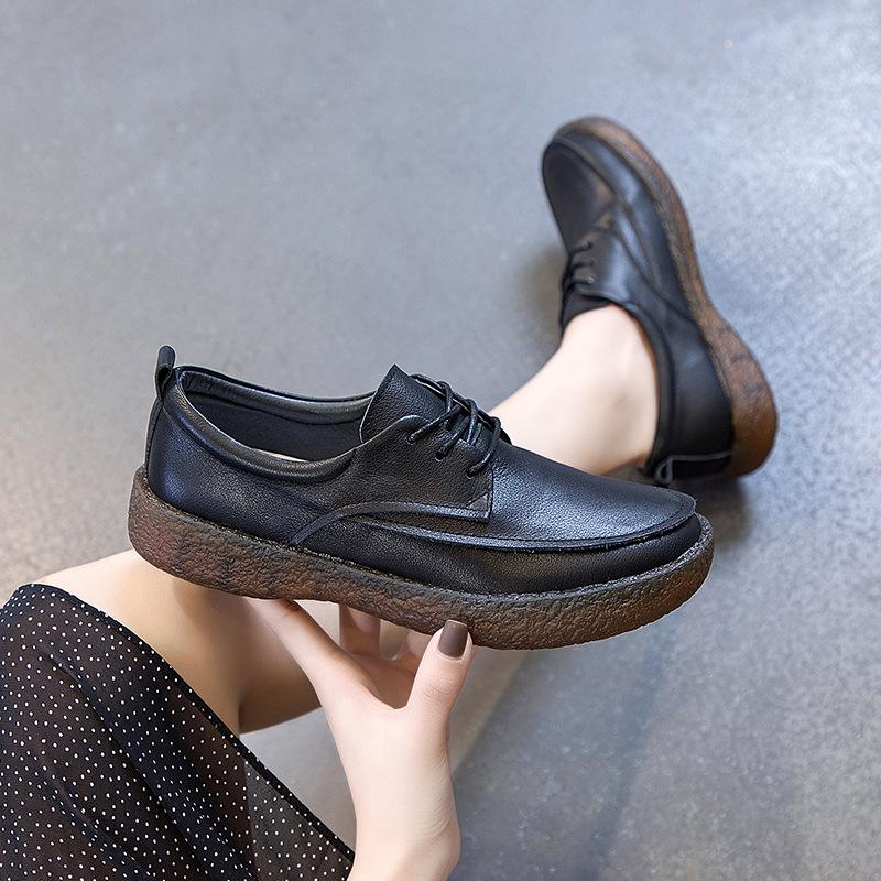 春秋季新款真皮平底单鞋女 软底软皮复古森女鞋 系带休闲小皮鞋