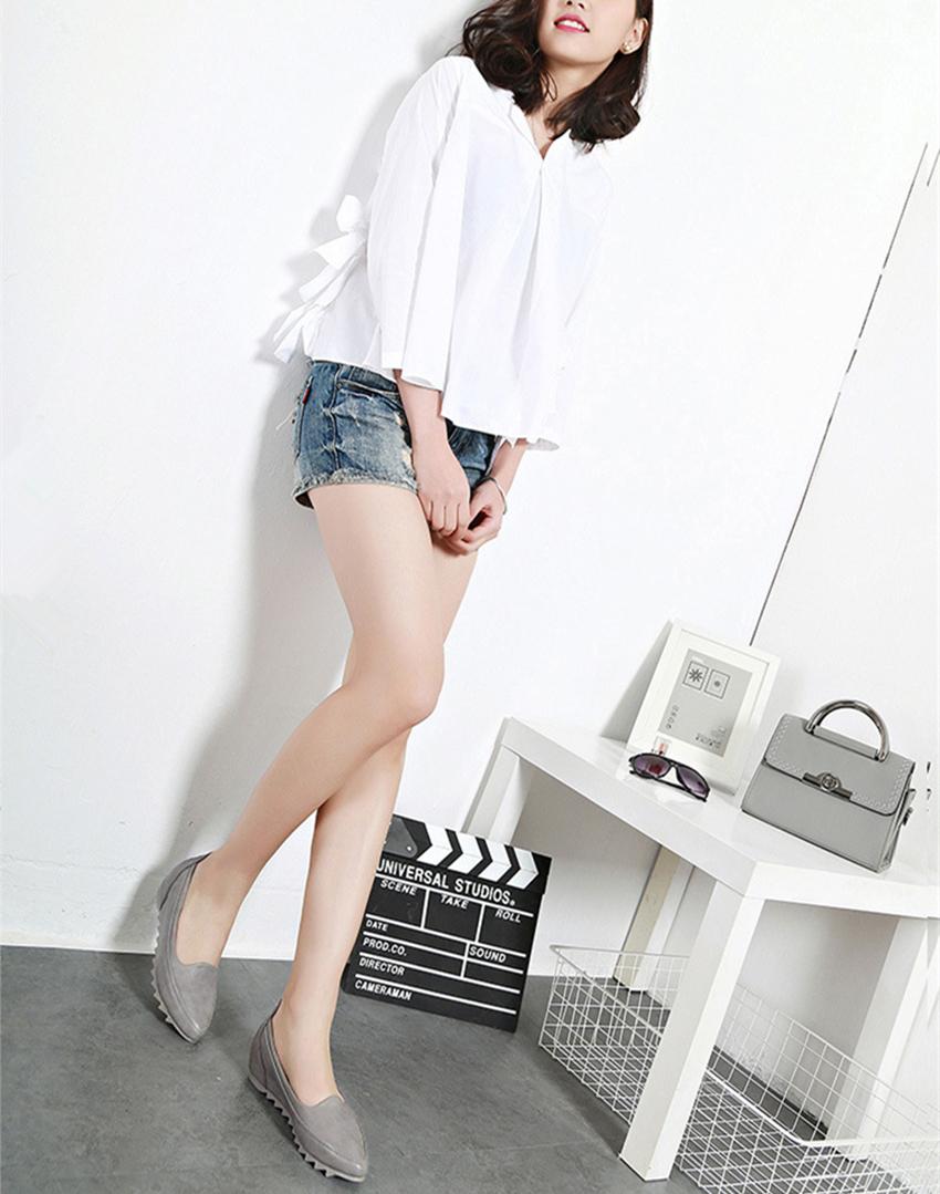 时尚优雅坡跟皮鞋女 新款韩版内增高豆豆鞋 软底黑色工作鞋 坡跟皮鞋