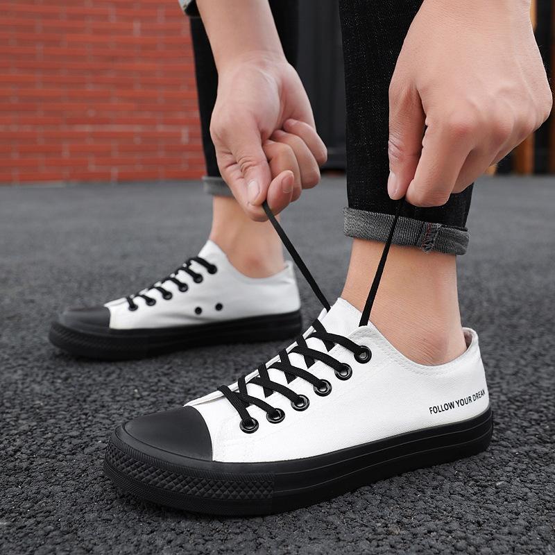春夏新款男鞋 韩版透气黑白帆布鞋 百搭潮鞋 学生休闲板鞋