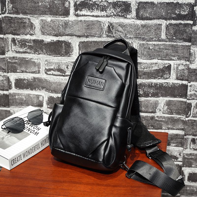 新款时尚男士胸包 休闲潮流大容量斜挎包 运动潮单肩包 男学生时尚潮流背包