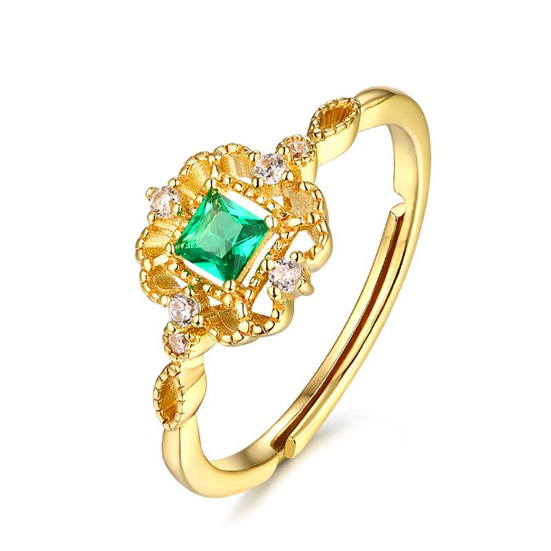 轻奢首饰复古戒指 古典风指环女 中国风纳米绿锆电镀浅黄金首饰