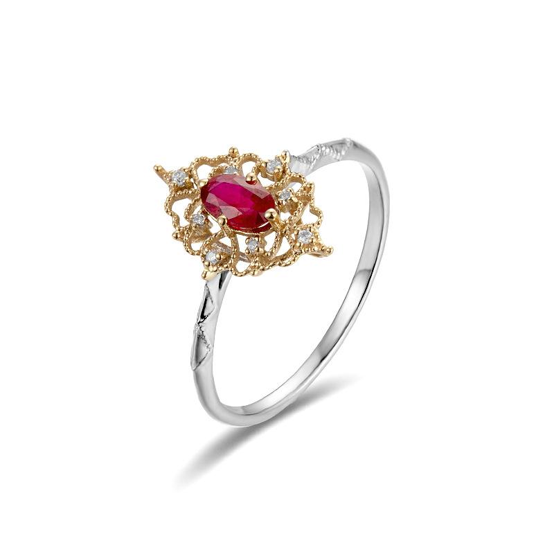高级珠宝 天然鸽血红复古宝石戒指女 18k金玫瑰金彩色宝石