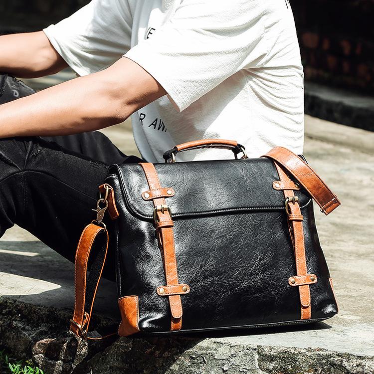 新款潮流 欧美个性公文包 男士复古单肩包 商务邮差包 斜跨手提包