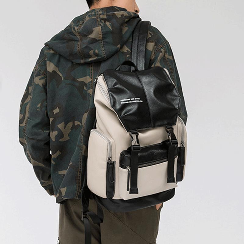 潮流双肩包男 商务休闲旅行包 大容量旅游背包 韩版时尚潮流防水书包软