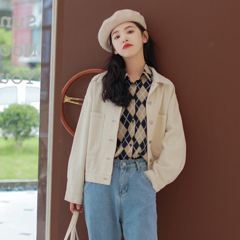 春夏新款 韩版宽松百搭休闲外套女 简约明线设计小个子牛仔外套