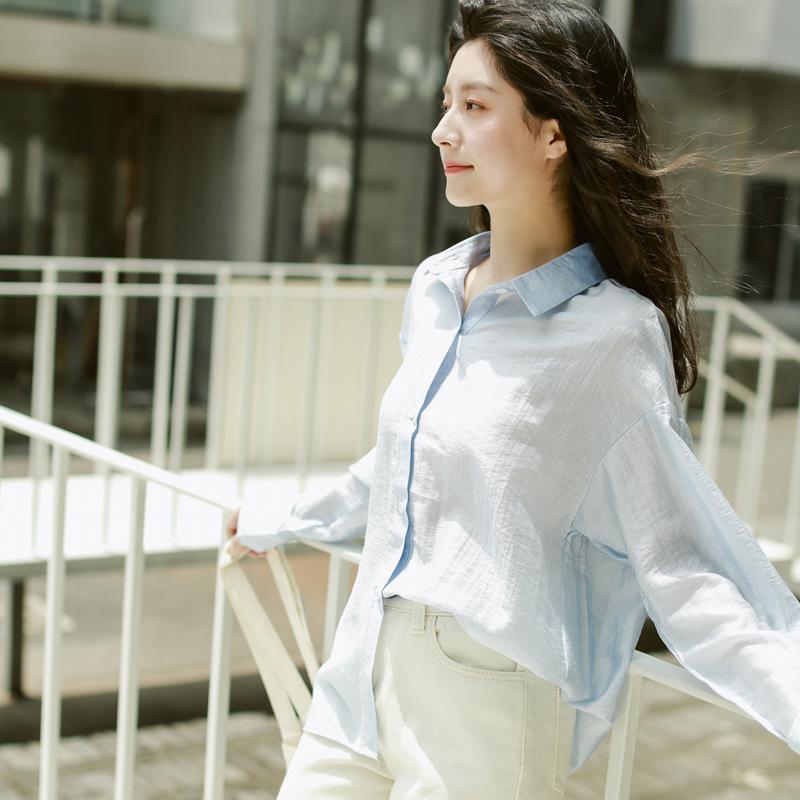 春夏新款 韩版简约休闲纯色百搭衬衫 小众设计长袖气质ins衬衫女潮