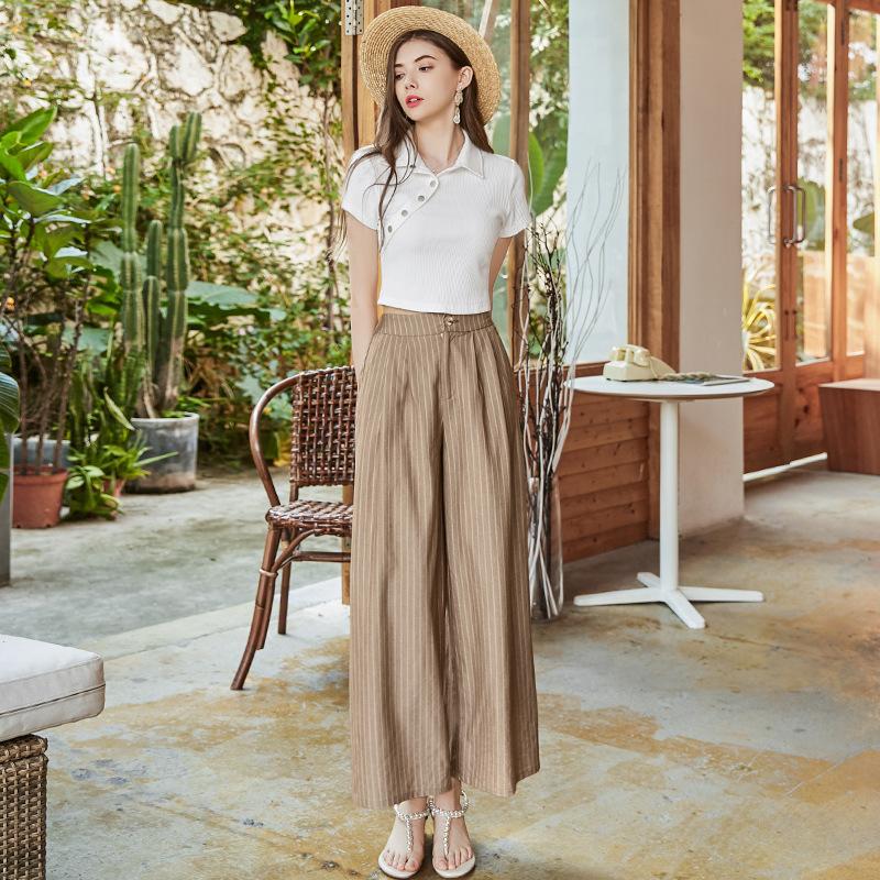 春夏新款 小个子时尚两件套女装 设计感针织上衣+条纹阔腿裤女