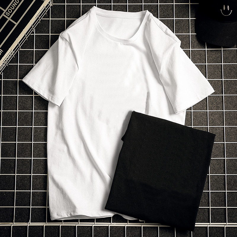夏季短袖T恤 纯色T恤男 宽松休闲男士纯棉T恤 圆领宽松体恤男