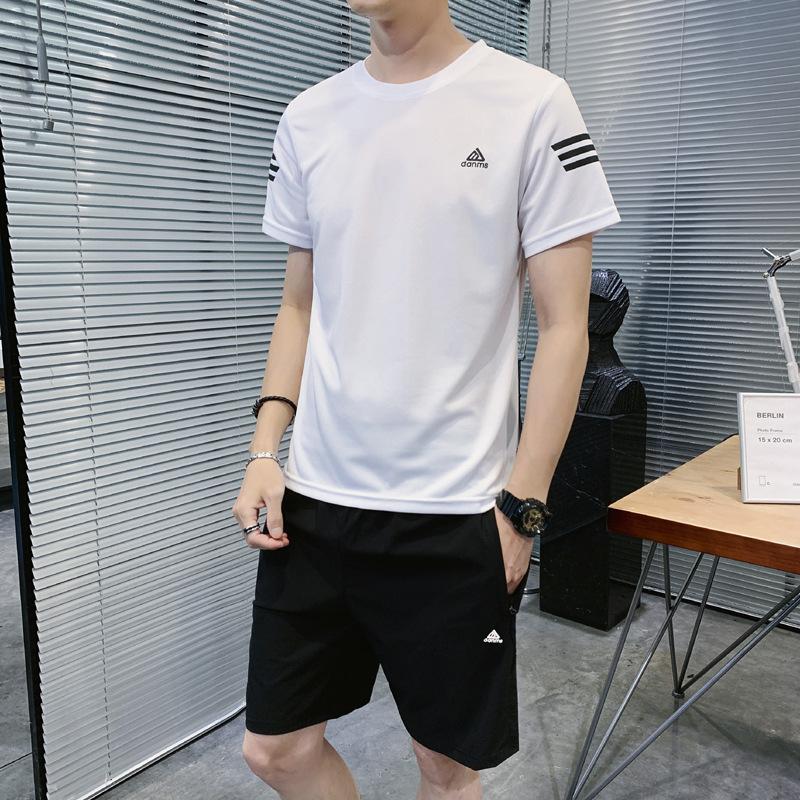 夏季ins新款T恤休闲套装 青年韩版帅气百搭男式运动两件套装