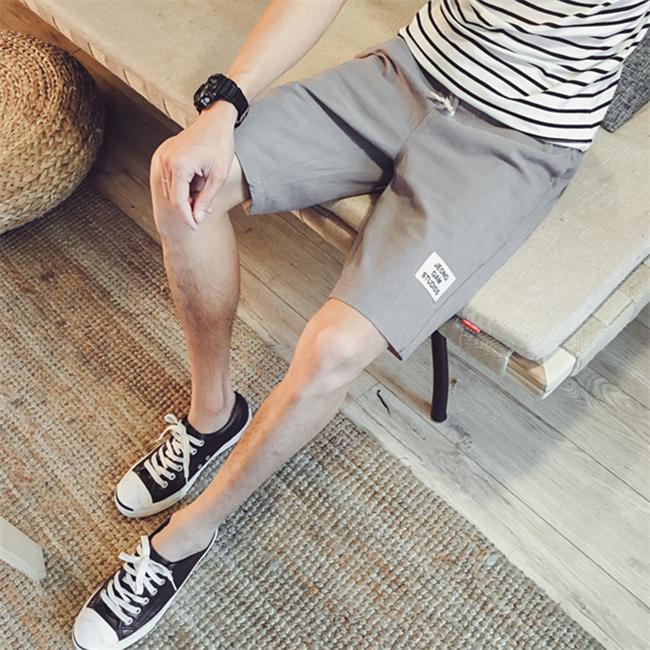 夏装新品 时尚都市男士抽绳松紧亚麻五分短裤 棉麻日系休闲短裤