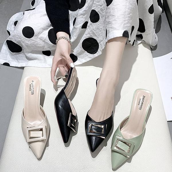 包头半拖细跟尖头女鞋 2020新款韩版外贸方扣女鞋 法式少女拖鞋外穿
