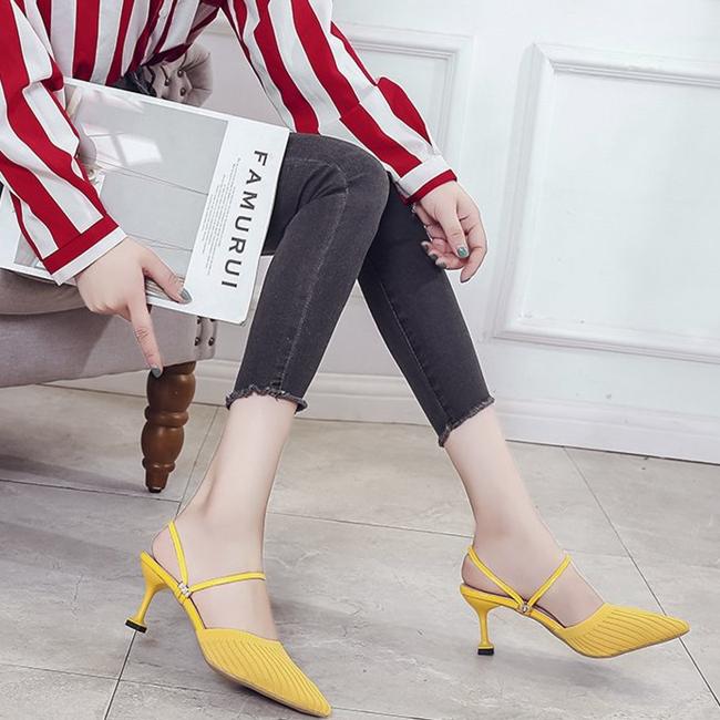时尚包头拖鞋女 夏季新款韩版百搭网红尖头弹力女鞋 两穿仙女风凉鞋