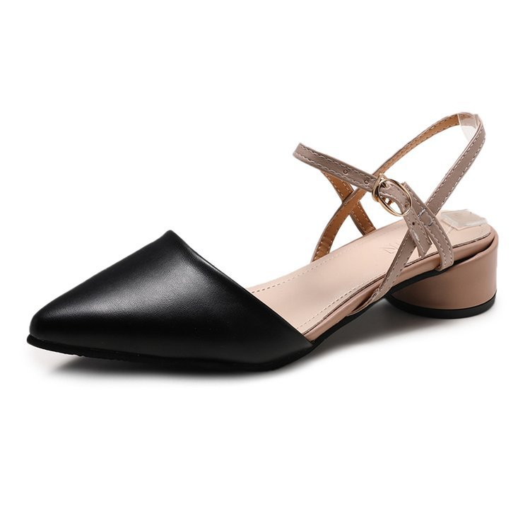 新款潮流凉鞋 时尚低跟尖头一字带仙女风女鞋 粗跟包头女鞋