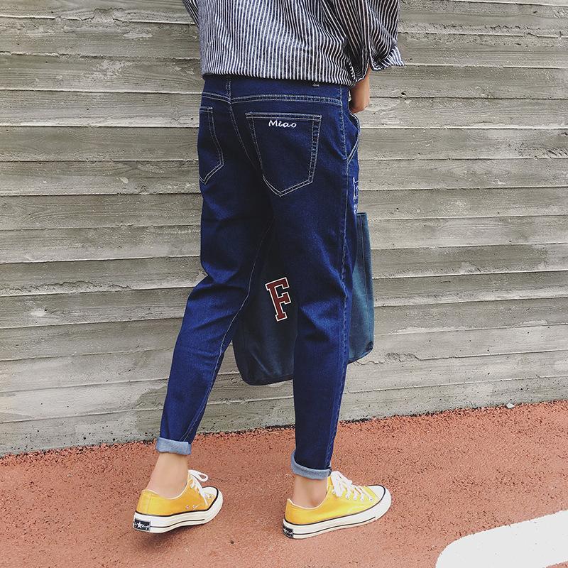 春夏时尚潮流牛仔裤 青年修身小裤脚黑色休闲九分裤 韩版潮流百搭牛仔裤