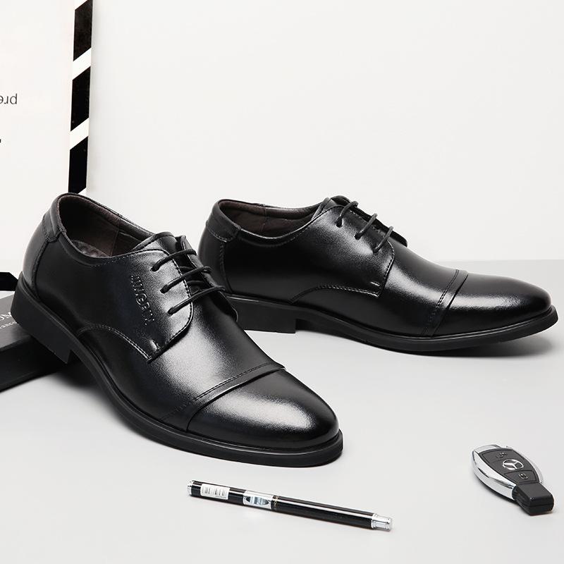 时尚正装皮鞋男 新款春秋冬商务休闲男鞋 真皮英伦黑色皮鞋