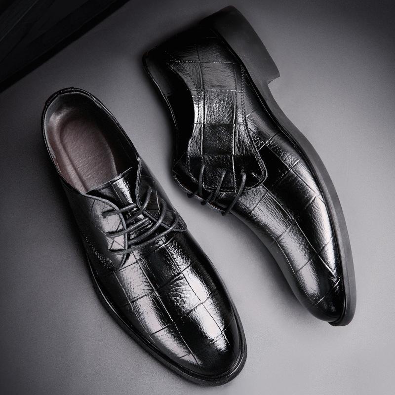 夏季新款 男士时尚商务皮鞋 休闲真皮正装男鞋 舒适透气鞋子潮