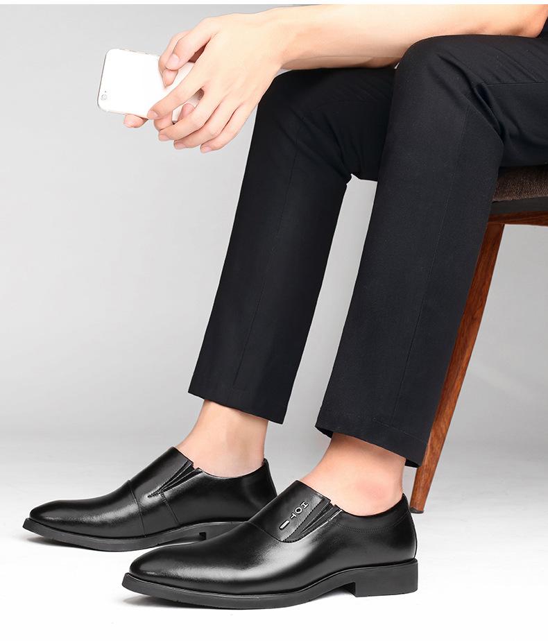 春夏新款休闲皮鞋 新款商务正装男士皮鞋 一脚蹬真皮英伦皮鞋