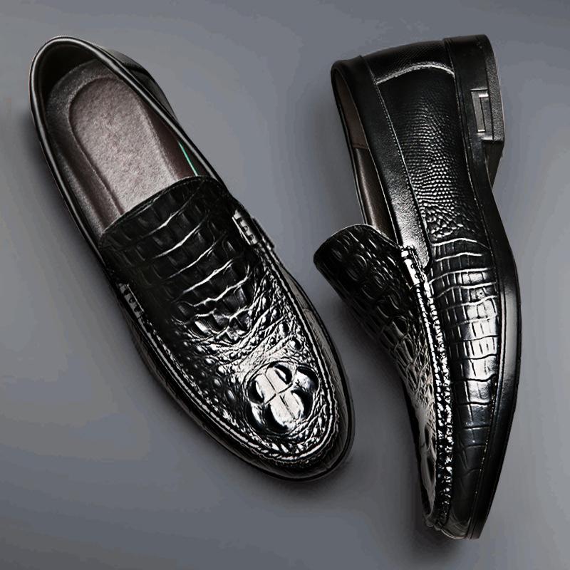 春夏新款时尚豆豆鞋男 休闲皮鞋 时尚真皮鳄鱼纹透气皮鞋