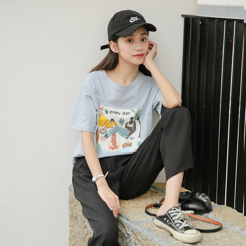 夏装新款 韩版小清新百搭圆领宽松T恤 学生烫图个性图案短袖T恤潮