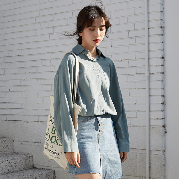 春夏新款 韩版小清新青年学生款纯色棉麻衬衣女 长袖宽松打底衬衫