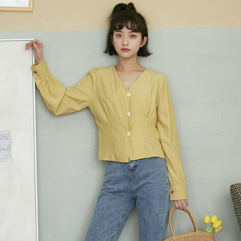 春夏新款 时尚V领气质衬衫 设计感小众轻熟衬衫 短款时尚网红复古上衣