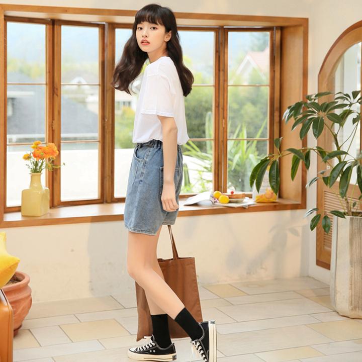 夏季新款 韩版学院风简约百搭T恤 基础款纯色圆领短袖T恤 青年学生T恤