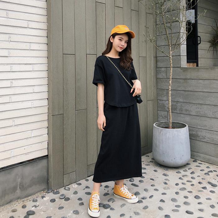 夏季新款 韩版港风个性宽松短款上衣+开叉高腰半身裙套装女潮