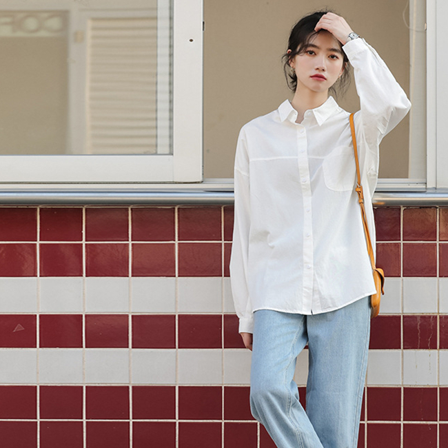 春夏新款 chic百搭简约柔软舒适宽松长袖纯色白衬衫 简约时尚衬衫青年女学生