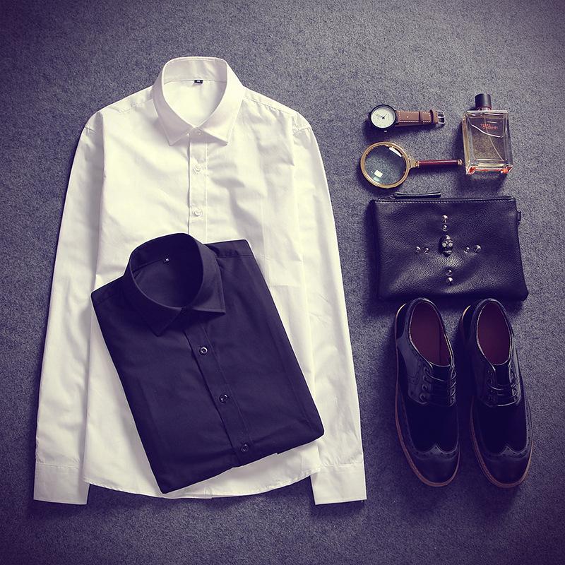 经典长袖衬衫男 韩版修身型青年衬衣 休闲修身衬衫