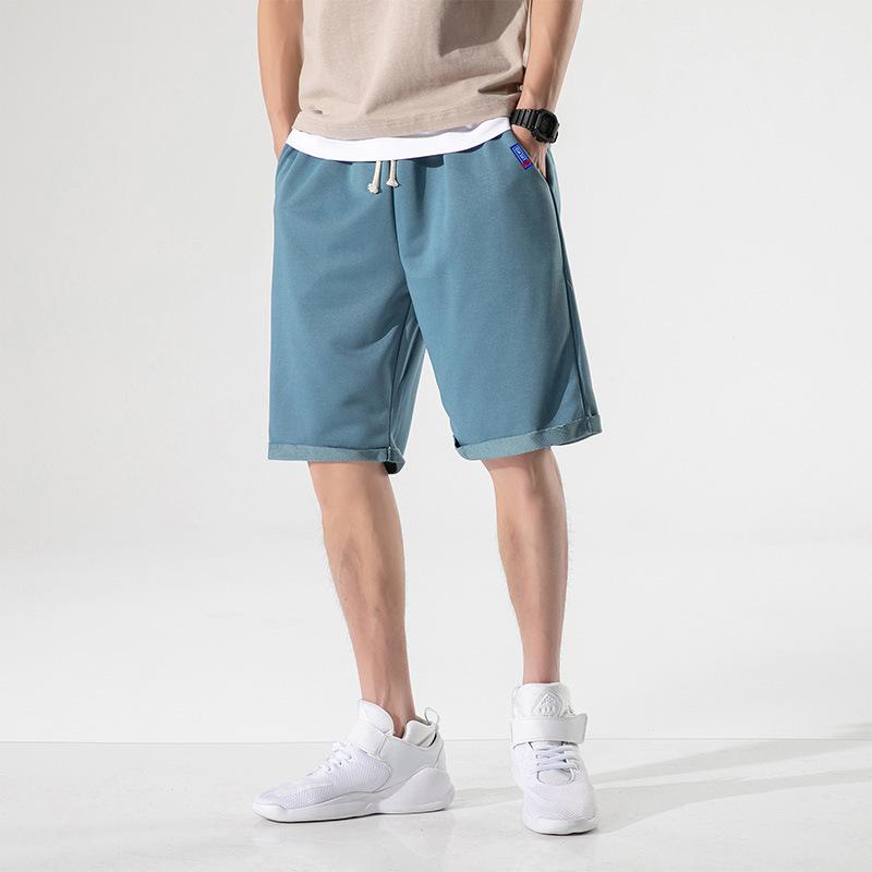 夏季纯色五分裤男 运动宽松中裤 五分薄款沙滩裤 潮流男士短裤 休闲男短裤