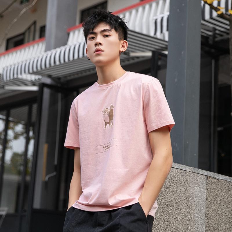 男士潮流短袖T恤 夏季新款休闲圆领潮T恤 宽松刺绣青年T恤衫